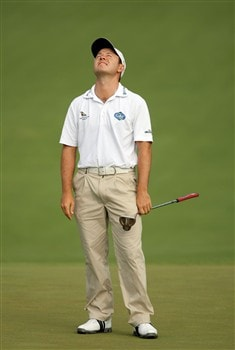 AUGUSTA, GA - APRIL 11:  Richard Sterne of South Africa reacts to a missed putt on the second green during the second round of the 2008 Masters Tournament at Augusta National Golf Club on April 11, 2008 in Augusta, Georgia.  (Photo by Harry How/Getty Images)