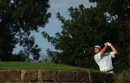 TULSA, OK - AUGUST 09:  Brian Bateman watches his shot on the 11th hole during the first round of the 89th PGA Championship at the Southern Hills Country Club on August 9, 2007 in Tulsa, Oklahoma.  (Photo by Jamie Squire/Getty Images)