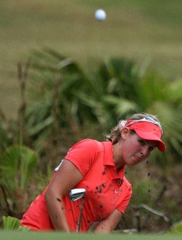 DAYTONA BEACH, FL - DECEMBER 02:  Ashleigh Simon of South Africa plays a shot left-handed on the 18th hole during the final round of the 2007 LPGA Qualifying Tournament at LPGA International on December 2, 2007 in Daytona Beach, Florida  (Photo by Scott Halleran/Getty Images)
