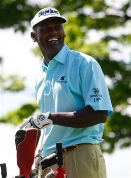 CROMWELL, CT - JUNE 19:  Vijay Singh smiles after a drive during the first round of the Travelers Championship held at TPC River Highlands on June  19, 2008 in Cromwell, Connecticut. (Photo by Jim Rogash/Getty Images)