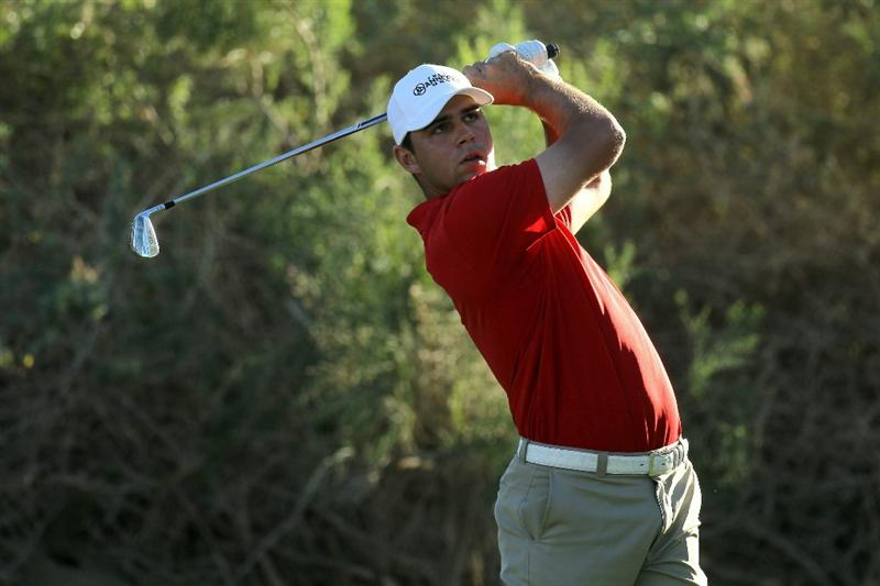 LA QUINTA, CA - JANUARY 21:  Gary Woodland hits his tee shot on the 17th hole during round three of the Bob Hope Classic at the Nicklaus Private Course at PGA West on January 21, 2011 in La Quinta, California.  (Photo by Stephen Dunn/Getty Images)