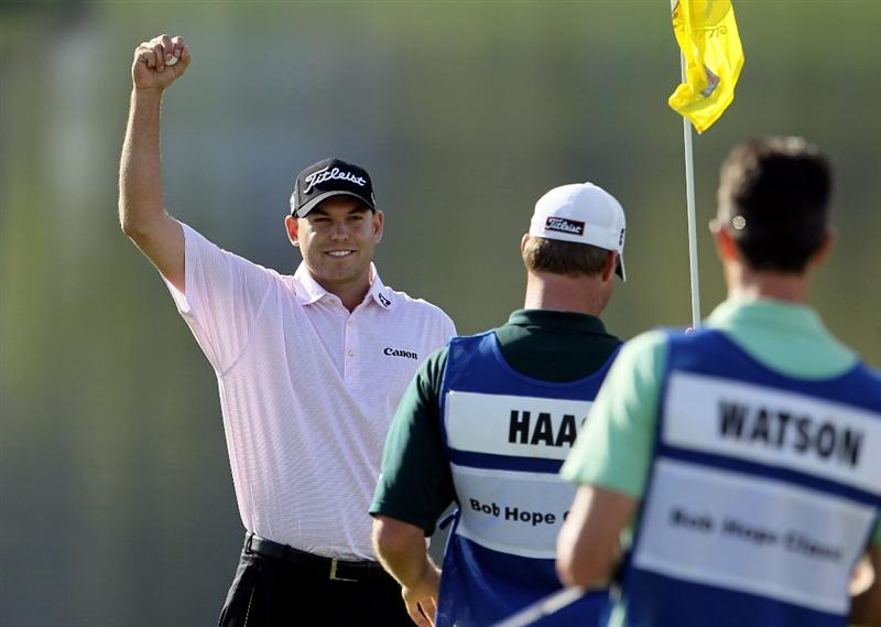 LA QUINTA, CA - JANUARY 25:  Bill Haas celebrates after making a birdie putt to win the Bob Hope Classic at the Palmer Private Course at PGA West on January 25, 2010 in La Quinta, California.  (Photo by Jeff Gross/Getty Images)