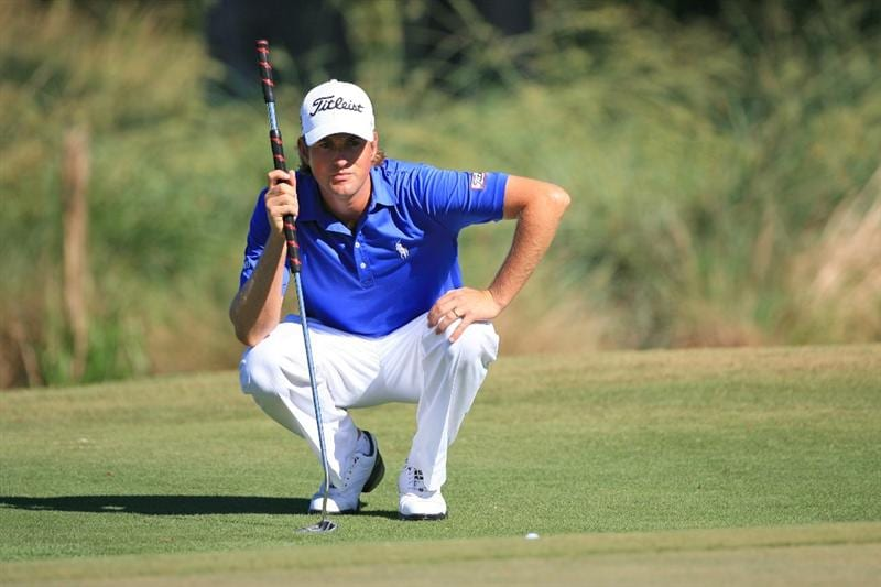 NEW ORLEANS, LA - APRIL 29: Webb Simpson lines up his birdie putt on the fourth hole during the second round of the Zurich Classic at the TPC Louisiana on April 29, 2011 in New Orleans, Louisiana. (Photo by Hunter Martin/Getty Images)