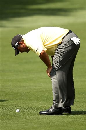 CHARLOTTE, NC - MAY 02:  Angel Cabrera of Argentina looks at his ball on the 11th fairway during the final round of the Quail Hollow Championship at Quail Hollow Country Club on May 2, 2010 in Charlotte, North Carolina.  (Photo by Streeter Lecka/Getty Images)