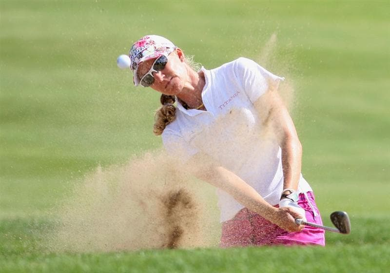 SPRINGFIELD, IL - JUNE 05:  Kris Tamulis hits her third  shot from the bunker on the 12th hole during the second round of the LPGA State Farm Classic golf tournament at Panther Creek Country Club on June 5, 2009 in Springfield, Illinois.  (Photo by Christian Petersen/Getty Images)