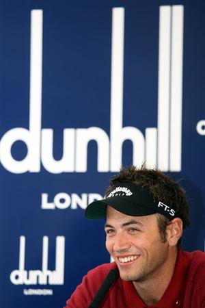 ST. ANDREWS, UNITED KINGDOM - OCTOBER 01:  1: Defending champion Nick Dougherty of England talks to the media during the final practice round of The Alfred Dunhill Links Championship at The Old Course on October 1, 2008 in St.Andrews, Scotland.  (Photo by Warren Little/Getty Images)