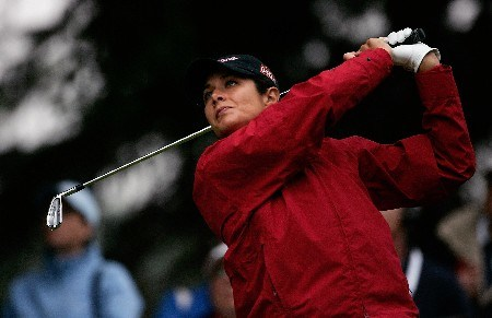 EDMONTON, CANADA - AUGUST 18:  Laura Diaz makes a tee shot on the fourth hole during the third round of the LPGA CN Canadian Women's Open 2007 on August 18, 2007 at the Royal Mayfair Golf Club in Edmonton, Alberta, Canada.  (Photo by Robert Laberge/Getty Images)