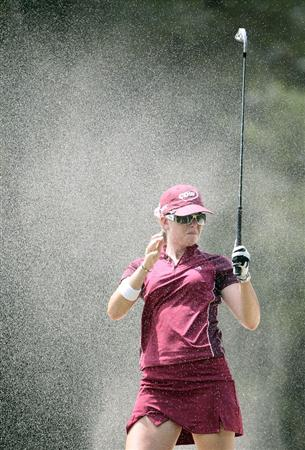 MOBILE, AL - SEPTEMBER 12: Paula Creamer tries to escape the sand after hitting out of the fairway bunker on the 7th hole during second round play in the Bell Micro LPGA Classic at Magnolia Grove Golf Course on September 12, 2008 in Mobile, Alabama.  (Photo by Dave Martin/Getty Images)