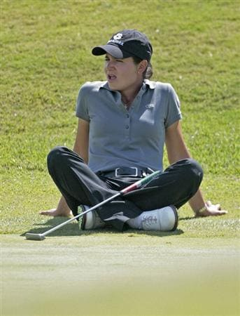 PRATTVILLE, AL - SEPTEMBER 26:  Lorena Ochoa of Mexico sits on the 8th green during second round play in the Navistar LPGA Classic at the Robert Trent Jones Golf Trail at Capitol Hill on September 26, 2008 in Prattville, Alabama.  (Photo by Dave Martin/Getty Images)