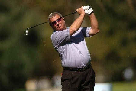 Fuzzy Zoeller tees off from the seventh hole during the first round of the Champions' Tour 2005 SBC Classic at  the Valencia Country Club in Valencia, California March 11, 2005.