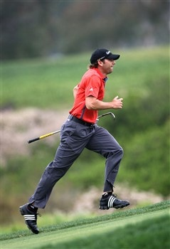 SAN DIEGO - JUNE 13:  Sergio Garcia of Spain runs up the 13th fairway to look at his lie during the second round of the 108th U.S. Open at the Torrey Pines Golf Course (South Course) on June 13, 2008 in San Diego, California.  (Photo by Donald Miralle/Getty Images)