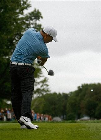 ST. LOUIS - SEPTEMBER 05:  Anthony Kim hits his tee shot on the 7th hole during the weather-delayed first round of the BMW Championship on September 5, 2008 at Bellerive Country Club in St. Louis, Missouri.  (Photo by Mike Ehrmann/Getty Images)