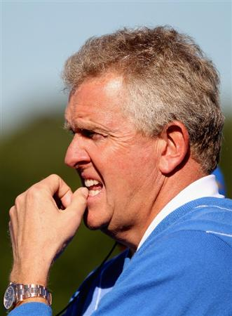 NEWPORT, WALES - OCTOBER 04:  The European Team Captain Colin Montgomerie watches the play in the singles matches during the 2010 Ryder Cup at the Celtic Manor Resort on October 4, 2010 in Newport, Wales.  (Photo by Jamie Squire/Getty Images)