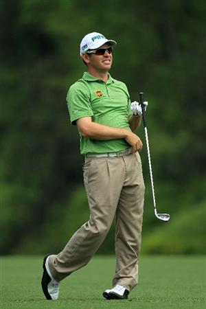 AUGUSTA, GA - APRIL 08:  Louis Oosthuizen of South Africa watches a shot on the fifth hole during the second round of the 2011 Masters Tournament at Augusta National Golf Club on April 8, 2011 in Augusta, Georgia.  (Photo by David Cannon/Getty Images)