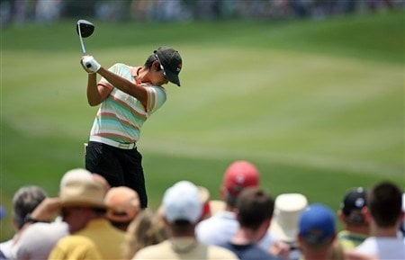 HAVRE DE GRACE, MD - JUNE 08:  Yani Tseng of Taiwan hits her tee shot on the 1st hole during the final round of the McDonald's LPGA Championship at Bulle Rock Golf Course on June 8, 2008 in Havre de Grace, Maryland.  (Photo by Andy Lyons/Getty Images)