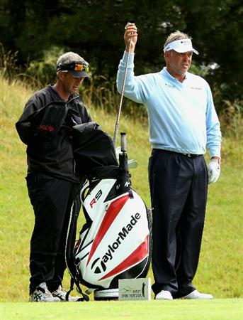 ESTORIL, PORTUGAL - JUNE 09:  Darren Clarke of Northern Ireland selects a club on the seventh tee during the Pro-am of the Estoril Open de Portugal at Penha Longa Golf Club on June 9, 2010 in Estoril, Portugal.  (Photo by Warren Little/Getty Images)