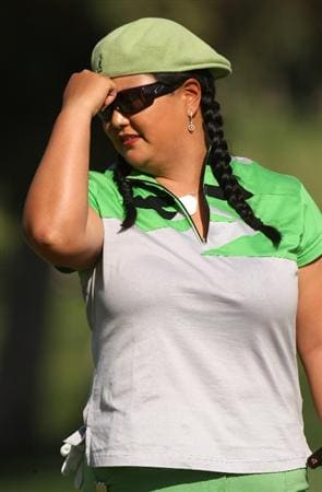 RANCHO MIRAGE, CA - APRIL 04:  Christina Kim reacts to her putt on the 15th hole during the third round of the Kraft Nabisco Championship at Mission Hills Country Club on April 4, 2009 in Rancho Mirage, California.  (Photo by Stephen Dunn/Getty Images)