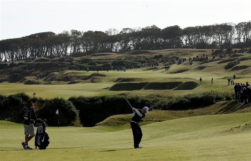 KINGSBARNS, SCOTLAND - OCTOBER 07:  Simon Dyson of England plays his second shot to the fifth hole during the first round of The Alfred Dunhill Links Championship at Kingsbarns Golf Links on October 7, 2010 in Kingsbarns, Scotland.  (Photo by Ross Kinnaird/Getty Images)