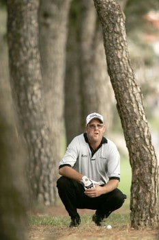 Stuart Little plays from the trees during the third round of the 2005 Open De Madrid at the Campo De Golf Club in Madrid, Spain on October 15, 2005.Photo by Pete Fontaine/WireImage.com