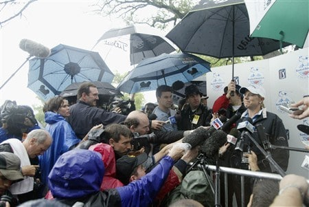 FT. WORTH, TX - MAY 21:  Annika Sorenstam of Sweden speaks with the media after a rain-shortened pro-am at the Bank of America Colonial hits a shot on the practice range at the Colonial Country Club on May 21, 2003 in Ft. Worth, Texas.  (Photo by Scott Halleran/Getty Images)