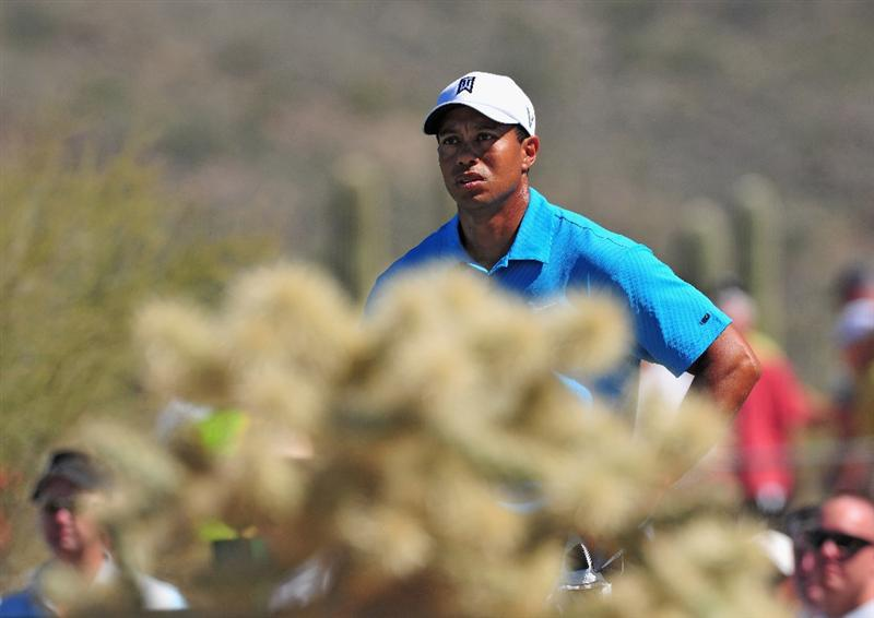 MARANA, AZ - FEBRUARY 25:  Tiger Woods of USA on the second hole during the first round of the Accenture Match Play Championships at Ritz - Carlton Golf Club at Dove Mountain on February 25, 2009 in Marana, Arizona.  (Photo by Stuart Franklin/Getty Images)
