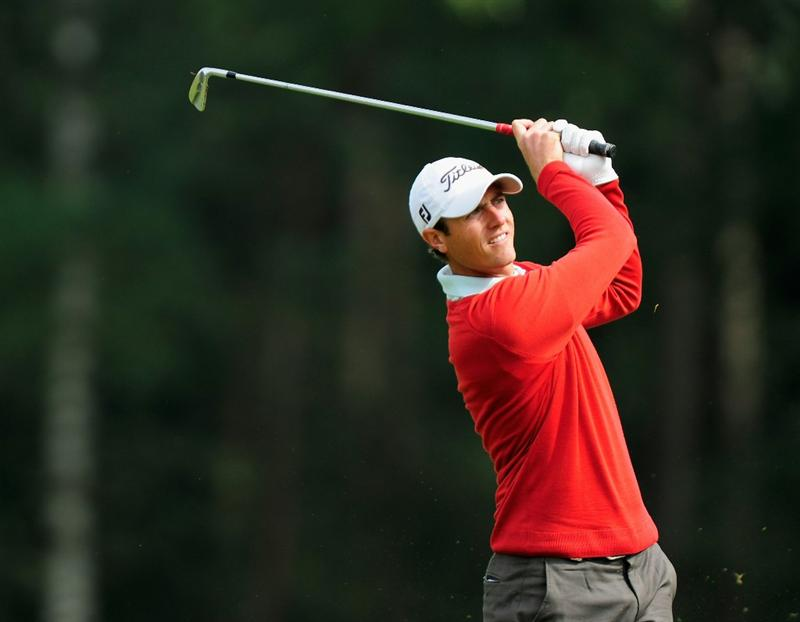 HILVERSUM, NETHERLANDS - SEPTEMBER 10:  Nicolas Colsaerts of Belgium plays his approach shot on the nineth hole during the second round of  The KLM Open Golf at The Hillversumsche Golf Club on September 10, 2010 in Hilversum, Netherlands.  (Photo by Stuart Franklin/Getty Images)