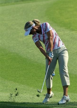 RANCHO MIRAGE, CA - APRIL 01:  Louise Friberg of Sweden on the 7th hole during the first round of the 2010 Kraft Nabisco Championship, on the Dinah Shore Course at The Mission Hills Country Club, on April 1, 2010 in Rancho Mirage, California.  (Photo by David Cannon/Getty Images)