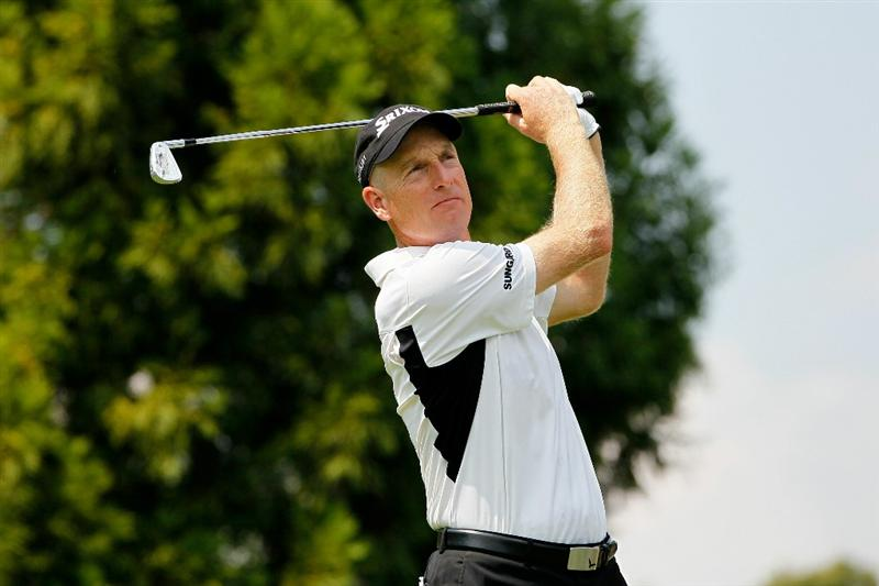 ATLANTA - SEPTEMBER 23:  Jim Furyk hits his tee shot on the second hole during the first round of THE TOUR Championship presented by Coca-Cola at East Lake Golf Club on September 23, 2010 in Atlanta, Georgia.  (Photo by Kevin C. Cox/Getty Images)