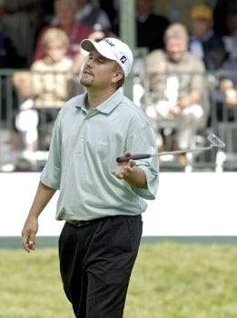 Craig Barlow misses birdie putt on the 18th hole during the third round of the Bell Canadian Open played at the Shaughnessy Golf and Country Club on Saturday, September 10, 2005 in Vancouver, British Columbia.Photo by Marc Feldman/WireImage.com