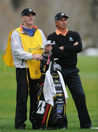 PACIFIC PALISADES, CA - FEBRUARY 18:  Fred Couples and caddie during the second round of the Northern Trust Open at Riviera Country Club on February 18, 2011 in Pacific Palisades, California.  (Photo by Stuart Franklin/Getty Images)