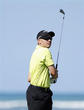 RIO GRANDE, PR - MARCH 11: Derek Lamely, the defending champion, watches his shot during the second round of the Puerto Rico Open presented by seepuertorico.com at Trump International Golf Club on March 11, 2011 in Rio Grande, Puerto Rico.  (Photo by Michael Cohen/Getty Images)
