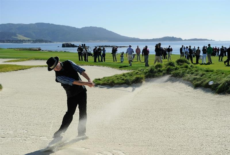 PEBBLE BEACH, CA - FEBRUARY 09:  Actor Bill Murray plays a bunker shot during the 3M Celebrity Challenge at the AT&T Pebble Beach National Pro-Am at Pebble Beach Golf Links on February 9, 2011  in Pebble Beach, California.  (Photo by Stuart Franklin/Getty Images)