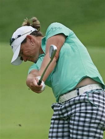 ROGERS, AR - SEPTEMBER 12:  Karen Stupples of England hits to the ninth green during second round play in the P&G Beauty NW Arkansas Championship at the Pinnacle Country Club on September 12, 2009 in Rogers, Arkansas.  (Photo by Dave Martin/Getty Images)