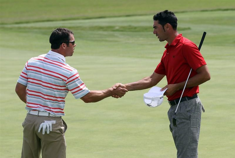 CASARES, SPAIN - MAY 19:  Alvaro Quiros of Spain beats Paul Casey of England during the group stages of the Volvo World Match Play Championship at Finca Cortesin on May 19, 2011 in Casares, Spain.  (Photo by Ross Kinnaird/Getty Images)