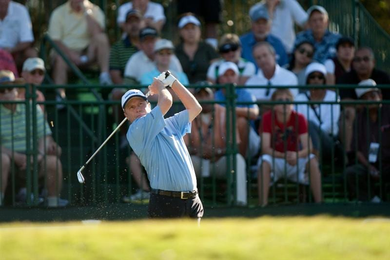 SAN ANTONIO, TX - OCTOBER 31: Jeff Sluman follows through on a tee shot during the final round of the AT&T Championship at Oak Hills Country Club on October 31, 2010 in San Antonio, Texas. (Photo by Darren Carroll/Getty Images)