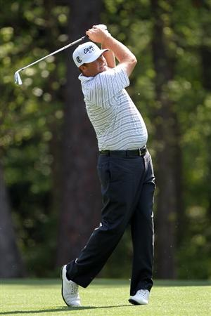 AUGUSTA, GA - APRIL 07:  Steve Marino hits a shot during a practice round prior to the 2010 Masters Tournament at Augusta National Golf Club on April 7, 2010 in Augusta, Georgia.  (Photo by Jamie Squire/Getty Images)