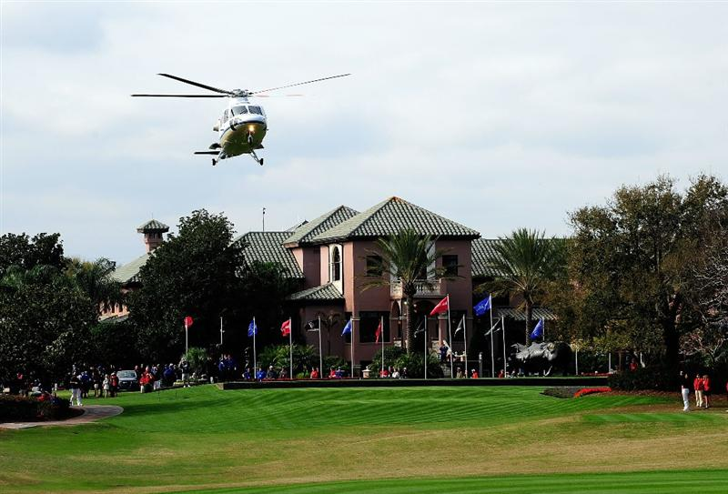 ORLANDO, FL - MARCH 23:  A helicopter arrives with the Lake Nona team prior to the second day's play of the Tavistock Cup at Isleworth Golf and Country Club on March 23, 2010 in Orlando, Florida.  (Photo by Sam Greenwood/Getty Images)