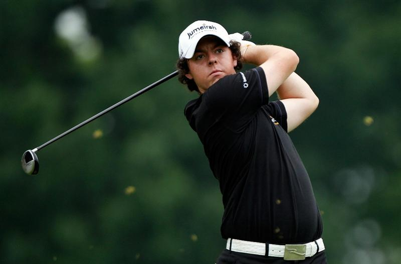 DUBLIN, OH - JUNE 05:  Rory McIlroy of Northern Ireland watches his tee shot on the third hole during the third round of the Memorial Tournament presented by Morgan Stanley at Muirfield Village Golf Club on June 5, 2010 in Dublin, Ohio.  (Photo by Scott Halleran/Getty Images)