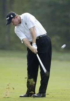 Shaun Micheel during the first round of the 2005 84 Lumber Classic on Thursday, September 15, 2005  held at the Mystic Rock Golf Course/Nemacolin Woodlands Resort  in Farmington, Pennsylvania. Micheel bogied the final three holes but maintained a share of the lead.Photo by Marc Feldman/WireImage.com