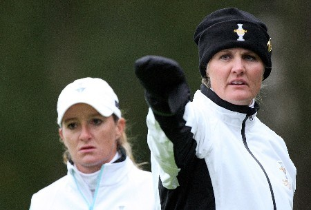 HALMSTAD, SWEDEN - SEPTEMBER 14:  Maria Hjorth and Gwladys Nocera of Europe wait to play a shot during the morning foursome matches of the Solheim Cup at on September 14, 2007 in Halmstad, Sweden.  (Photo by Andy Lyons/Getty Images)