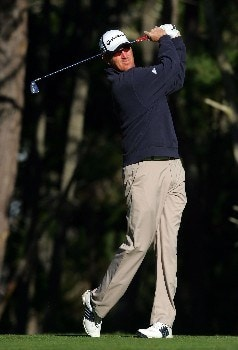 PEBBLE BEACH, CA - FEBRUARY 9:  Greg Owen of England hits a tee shot on the 11th hole during the third round of the AT&T Pebble Beach National Pro-Am at the Poppy Hills Golf Course February 9, 2008 in Pebble Beach, California.  (Photo by Jeff Gross/Getty Images)