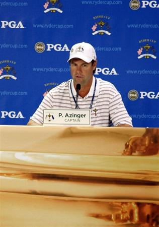 LOUISVILLE, KY - SEPTEMBER 18:  USA team captain Paul Azinger speaks to the media after a practice round prior to the 2008 Ryder Cup at Valhalla Golf Club on September 18, 2008 in Louisville, Kentucky.  (Photo by David Cannon/Getty Images)