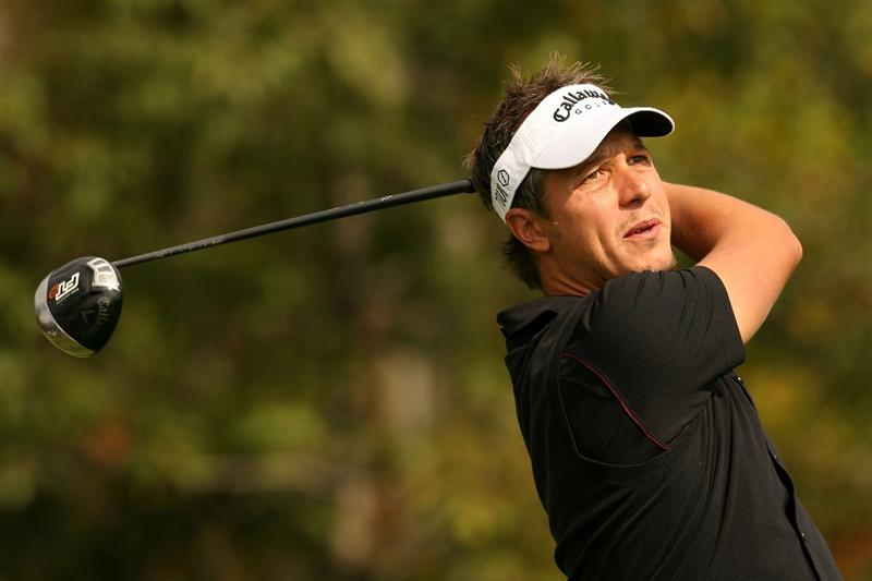 VERONA, NY - OCTOBER 04:  Fredrik Jacobson of Swedem tees off on the 4th hole during the final round of the 2009 Turning Stone Resort Championship at Atunyote Golf Club held on October 4, 2009 in Verona, New York.  (Photo by Chris Trotman/Getty Images)