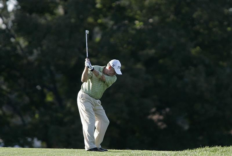 TIMONIUM, MD - OCTOBER 04: Jay Haas hits his second shot on the 16th hole during the final round of the Constellation Energy Senior Players Championship at Baltimore Country Club/Five Farms (East Course) held on October 4, 2009 in Timonium, Maryland (Photo by Michael Cohen/Getty Images)