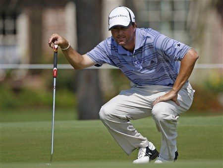 BROUSSARD, LA - MARCH 30: Ryan Palmer studies his putt on the 1st green  during the final round of the 2008 Chitimacha Louisiana Open at the Le Triomphe Country Club on March 30, 2008 in Broussard, Louisiana. (Photo by Dave Martin/Getty Images)