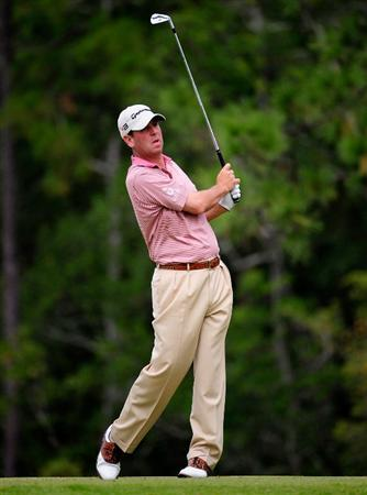 PALM COAST, FL - OCTOBER 31:  Harrison Frazar hits on the 12th hole during the second round of the Ginn sur Mer Classic at the Conservatory Golf Club on October 31, 2008 in Palm Coast, Florida.  (Photo by Sam Greenwood/Getty Images)