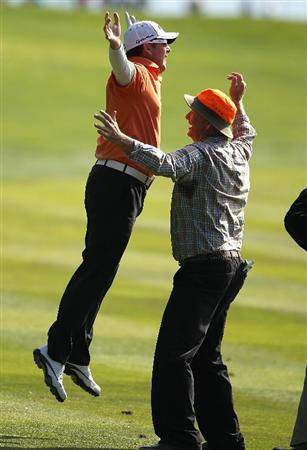 PEBBLE BEACH, CA - FEBRUARY 13:  D.A. Points celebrates with actor Bill Murray after hitting an eagle on the 14th hole at the AT&T Pebble Beach National Pro-Am- Final Round at the Pebble Beach Golf Links on February 13, 2011 in Pebble Beach, California.  (Photo by Jed Jacobsohn/Getty Images)