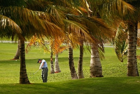 RIO GRANDE, PUERTO RICO - MARCH 20:  Shaun Micheel hits his approach on  the 2nd hole during the first round of the Puerto Rico Open presented by Banco Popular held on March 20, 2008 at Coco Beach Golf & Country Club in Rio Grande, Puerto Rico.  (Photo by Mike Ehrmann/Getty Images)
