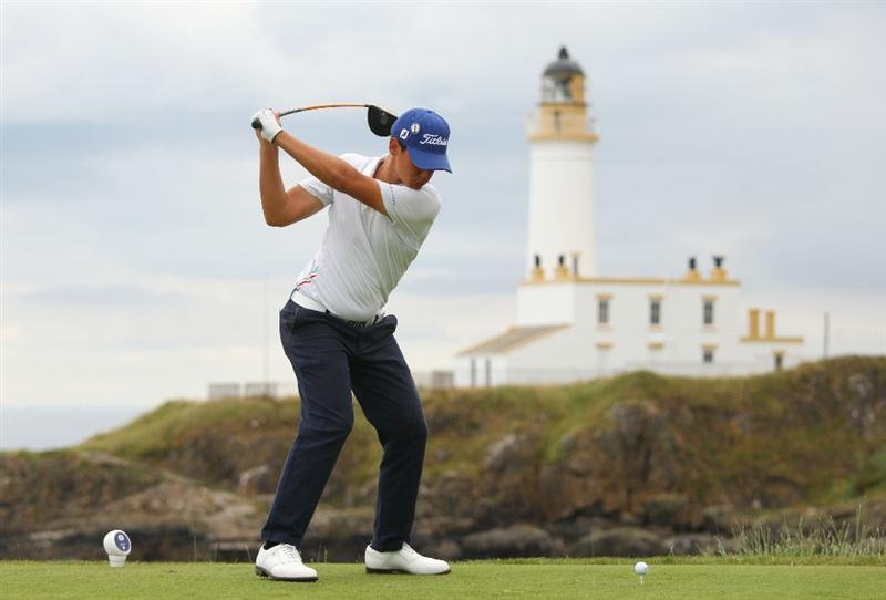 TURNBERRY, SCOTLAND - JULY 16:  Matteo Manassero (R) (Amateur) of Italy tees off on the 9th hole during round one of the 138th Open Championship on the Ailsa Course, Turnberry Golf Club on July 16, 2009 in Turnberry, Scotland.  (Photo by Andrew Redington/Getty Images)