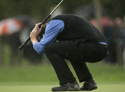 J.J. Henry of the USA reacts to a missed putt during the morning Fourballs at the 2006 Ryder Cup held at the K Club, Straffan, County Kildare, Ireland on Saturday, September 23, 2006. Photo by Sam Greenwood/WireImage.com